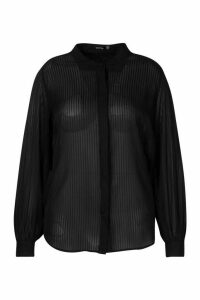 Womens Plus Satin Stripe Shirt - black - 18, Black