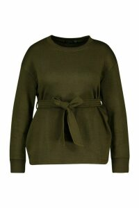 Womens Plus Tie Front Sweatshirt - green - 16, Green