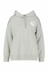 Womens Plus Sun Pocket Print Oversized Hoodie - grey - 18, Grey