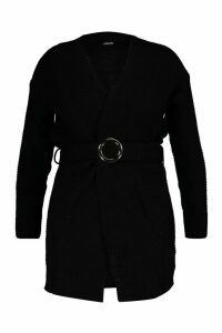 Womens Plus Buckle Belted Longline Cardigan - black - 24-26, Black