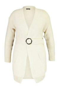 Womens Plus Buckle Belted Longline Cardigan - beige - 24-26, Beige