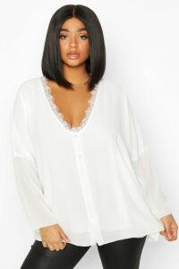 Womens Plus Lace Trim Long Sleeve Blouse - White - 20, White