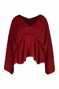 Womens Plus Kimono Sleeve Peplum Pleated Blouse - red - 20, Red
