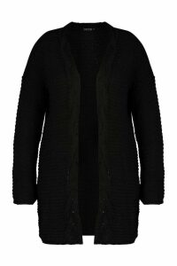 Womens Plus Cable Trim Oversized Cardigan - black - 24-26, Black