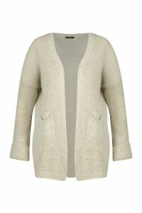 Womens Plus Pocket Front Slouchy Cardigan - beige - 20-22, Beige