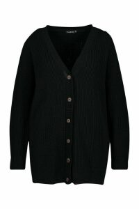 Womens Plus Long Line Horn Button Cardigan - black - 24/26, Black