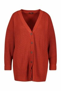 Womens Plus Long Line Horn Button Cardigan - orange - 16/18, Orange