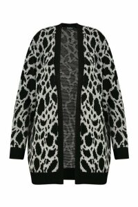 Womens Plus Jacquard Animal Print Cardigan - grey - 16/18, Grey