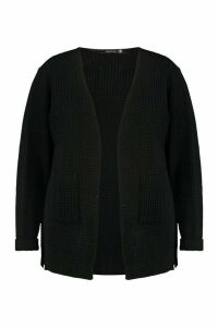 Womens Plus Waffle Knitted Chunky Oversized Cardigan - black - 24, Black