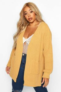 Womens Plus Waffle Knitted Chunky Oversized Cardigan - beige - 20/22, Beige