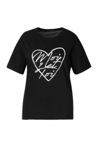 Womens Plus Moi Et Toi Heart T-Shirt - black - 16, Black