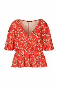 Womens Plus Oriental Floral Print Wrap Peplum Top - Red - 26, Red