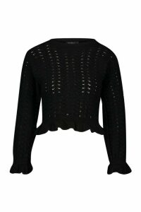 Womens Petite Textured Frill Hem Knitted Jumper - black - L, Black