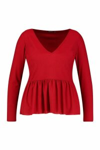 Womens Plus V Neck Long Sleeve Smock Top - red - 18, Red