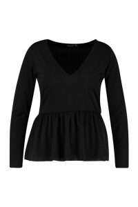 Womens Plus V Neck Long Sleeve Smock Top - black - 26, Black