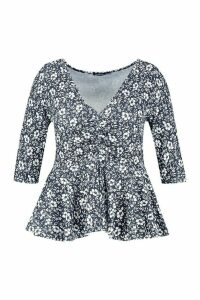 Womens Plus Floral Ruched Front Peplum Top - black - 18, Black