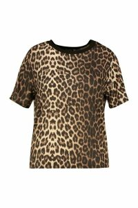 Womens Plus Leopard Print Ringer T-Shirt - brown - 20, Brown