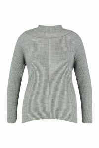 Womens Plus Rib Roll Neck Long Sleeve Jumper - grey - 28, Grey