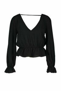 Womens Petite Woven V-Back Frill Peplum Blouse - black - 12, Black