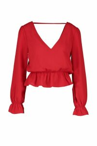 Womens Petite Woven V-Back Frill Peplum Blouse - red - 4, Red