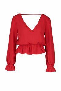 Womens Petite Woven V-Back Frill Peplum Blouse - red - 12, Red