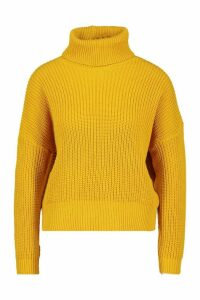 Womens Petite Roll Neck Oversized Jumper - yellow - L, Yellow