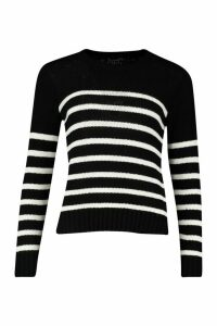 Womens Petite Stripe Oversized Jumper - black - M, Black