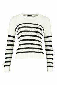 Womens Petite Stripe Oversized Jumper - white - L, White