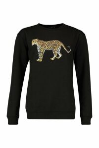 Womens Petite Leopard Oversized Sweat Top - black - L, Black