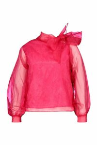 Womens Plus Organza Bloujon Sleeve Pussybow Blouse - Pink - 20, Pink