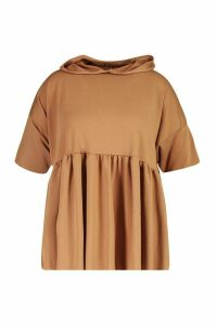 Womens Plus Hooded Peplum Sweatshirt - beige - 24, Beige