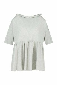 Womens Plus Hooded Peplum Sweatshirt - grey - 20, Grey