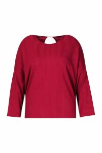 Womens Plus Rib Knotted Long Sleeve T-Shirt - red - 20, Red