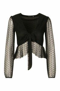 Womens Petite Dobby Mesh Tie Front Top - black - 14, Black