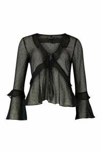Womens Petite Dobby Mesh Ruffle Blouse - Black - 4, Black