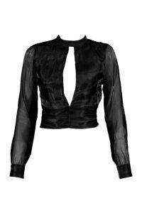 Womens Petite Organza Tie Back Blouse - black - 14, Black