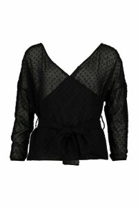 Womens Petite Dobby Mesh Off Shoulder Belted Blouse - black - 8, Black