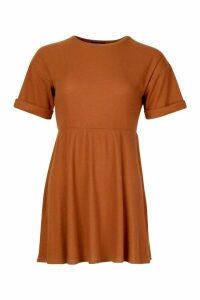 Womens Petite Knitted Rib Turn Up Sleeve Smock Dress - beige - 8, Beige