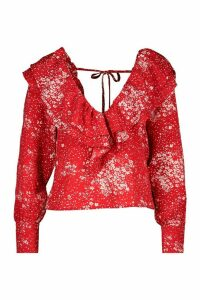 Womens Petite Plunge Frill Floral Blouse - red - 8, Red