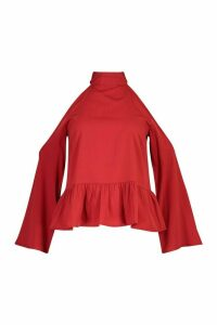 Womens Petite Cold Shoulder Peplum Top - red - 4, Red