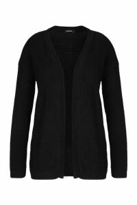 Womens Plus Edge To Edge Waffle Knit Cardigan - Black - 22, Black