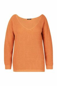 Womens Plus Oversized V-Neck Jumper - orange - 20, Orange