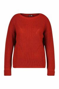 Womens Plus Cuff Detail Fisherman Knit Jumper - orange - 22, Orange