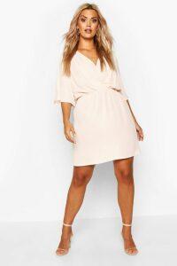 Womens Plus Angel Sleeve Smock Dress - Pink - 20, Pink
