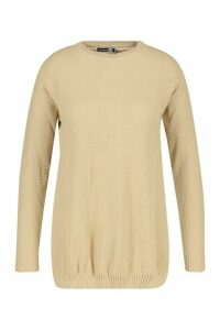 Womens Plus Side Split Moss Stitch Tunic Jumper - beige - 22, Beige