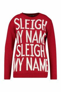 Womens Plus 'Sleigh My Name' Christmas Jumper - red - 20, Red