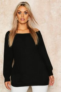 Womens Plus Slash Neck Oversized Jumper - black - 24, Black