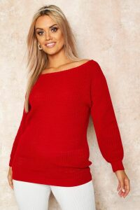 Womens Plus Slash Neck Oversized Jumper - red - 24, Red