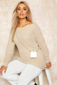 Womens Plus Slash Neck Oversized Jumper - Beige - 24, Beige