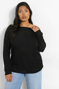 Womens Plus Oversized Rib Long Sleeve T-Shirt - Black - 26, Black